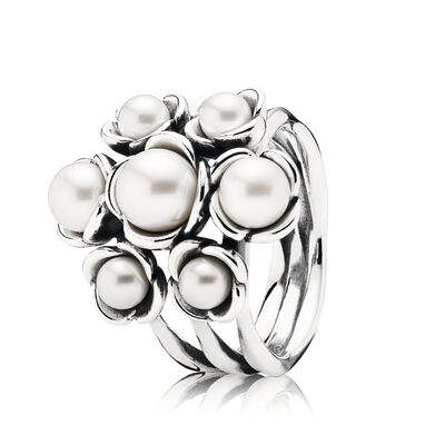 Floral and Pearl Ring