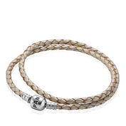 Moments Double Woven Leather Bracelet, White