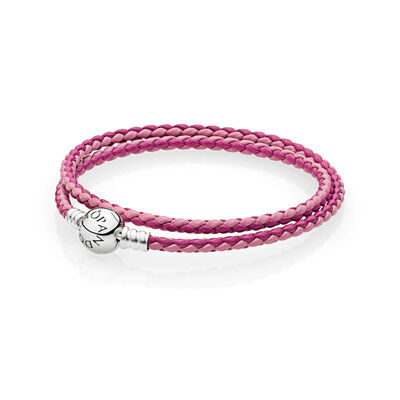 Moments Double Woven Leather Bracelet - Pink Mix
