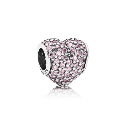 Charm Cuore in Pavé Rosa