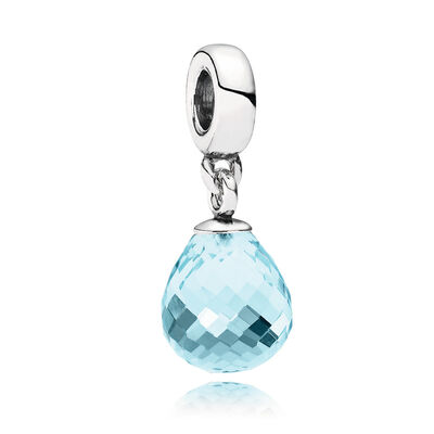 Ice Blue Faceted Murano Pendant Charm