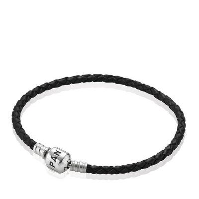 Moments Single Woven Leather Bracelet, Black