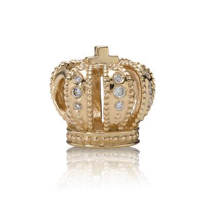 Majestic Crown, gold charm, 0.108ct TW h/vs diamonds
