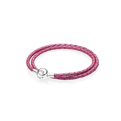 Moments Double Woven Leather Bracelet - Honeysuckle Pink