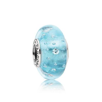 Blau sprudelnder Murano-Glas,  Charm