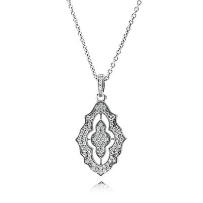 Sparkling Classic Lace Pendant with Necklace