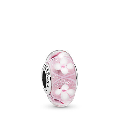 Pink Bloom Murano Glass Charm