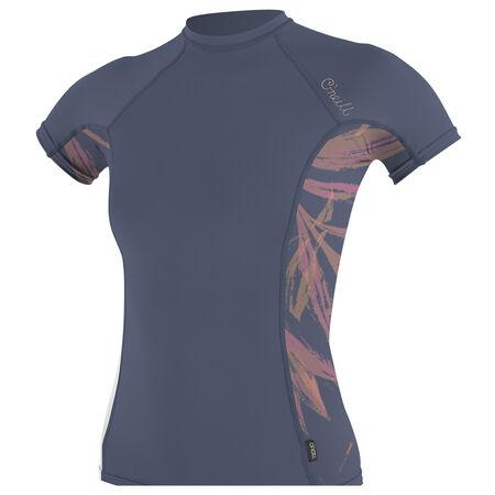 Skins side print short sleeve rash guard womens