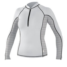 Skins front zip long sleeve rash guard womens