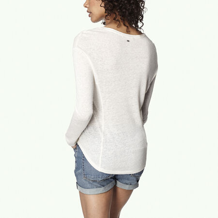Linen Scooped Hem T-Shirt