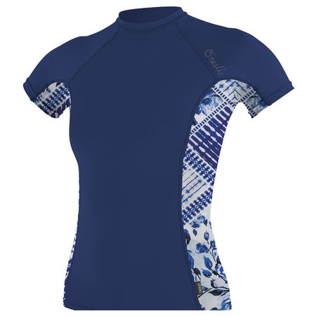 Skins side print short sleeve rash guard womens