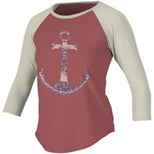 Skins graphic long slv baseball tee womens