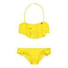 Solid Ruffle Bandeau Bikini