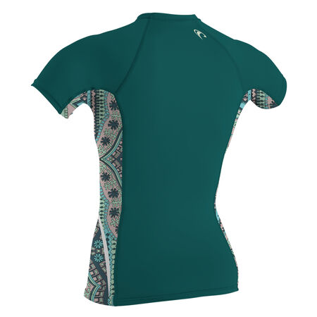 Side print short sleeve crew womens