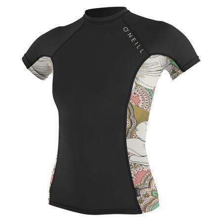Side print short sleeve crew womens