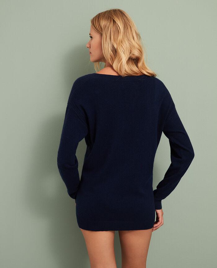 Pullover mit V-Ausschnitt Manhattan Blau COZY