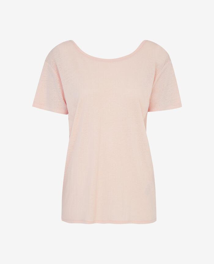 Kurzärmeliges T-Shirt offenem Rücken Beige Nude IDEAL