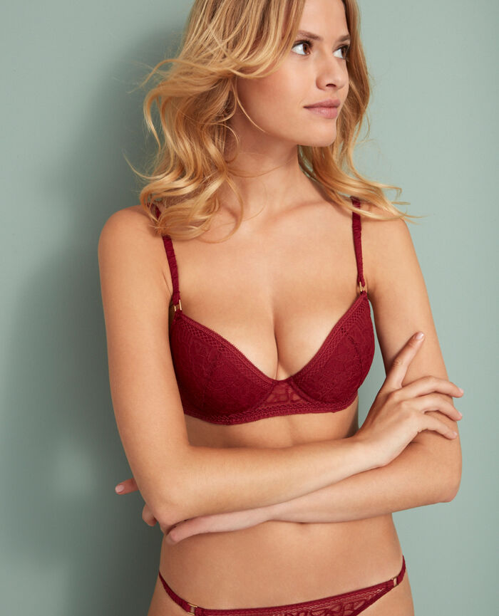 Padded push-up bra Leather red Manhattan