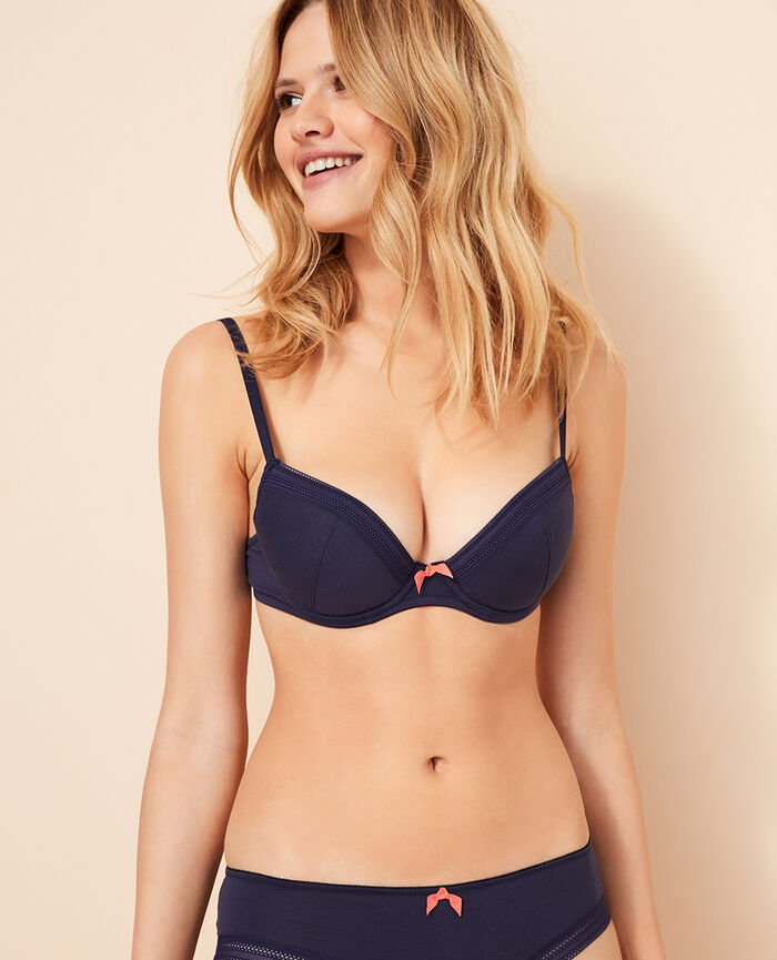 Padded push-up bra Denim blue Coton