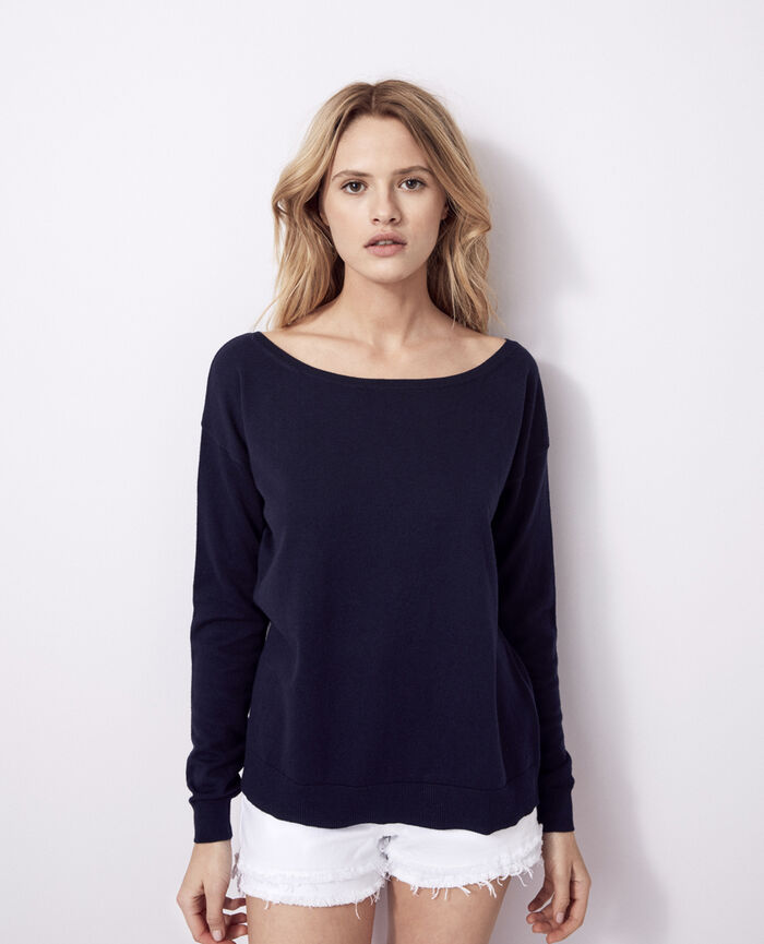 Boatneck jumper Navy Kanou