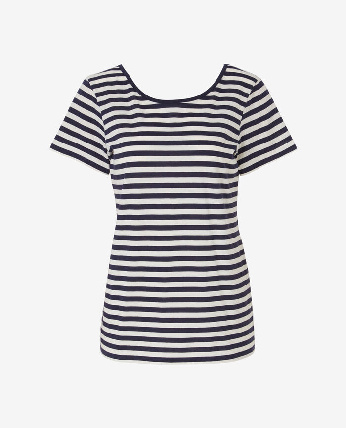 Short open back t-shirt Blue stripes Voyage voyage
