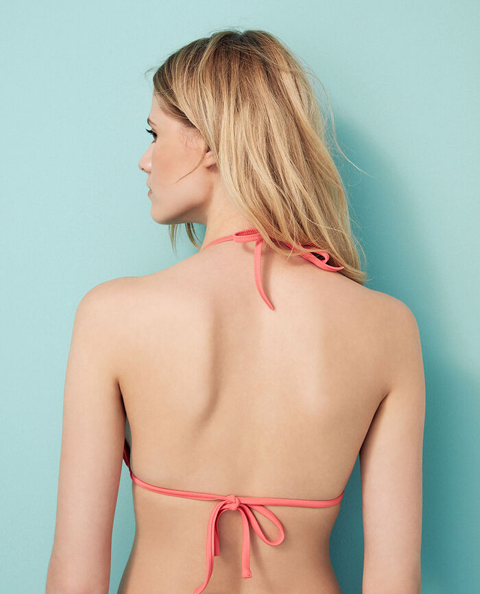 Padded triangle bikini top Coral orange Princesse tam.tam x uniqlo