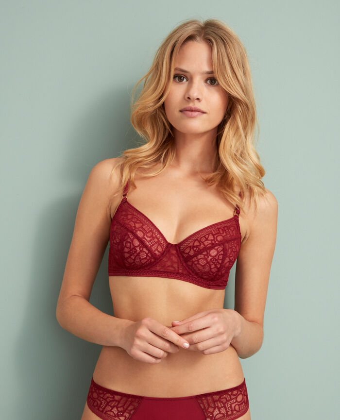 Underwired bra Leather red Manhattan