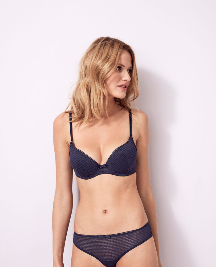 Padded push-up bra Denim blue Fetiche