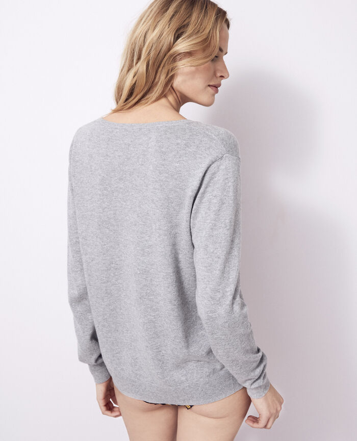 V-neck jumper Flecked grey Kanou