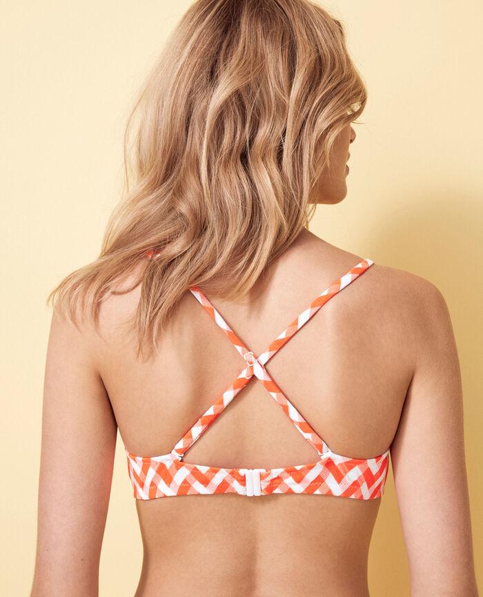 Concealed underwired strapless bikini top Neon orange Zebra