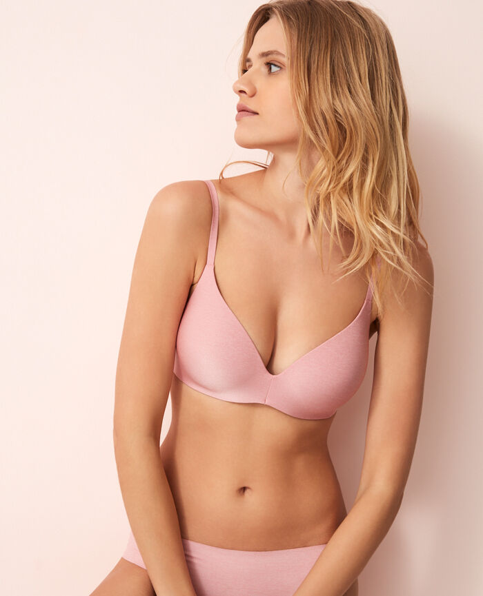 Soft moulded triangle bra Lilac pink Fantomette