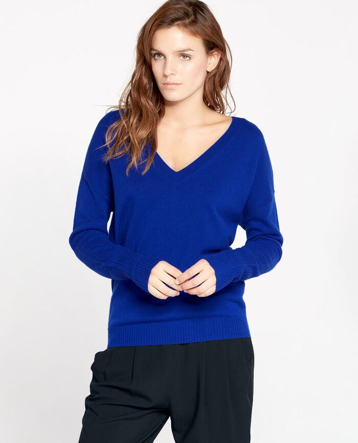 Pull col v Bleu splash Cozy