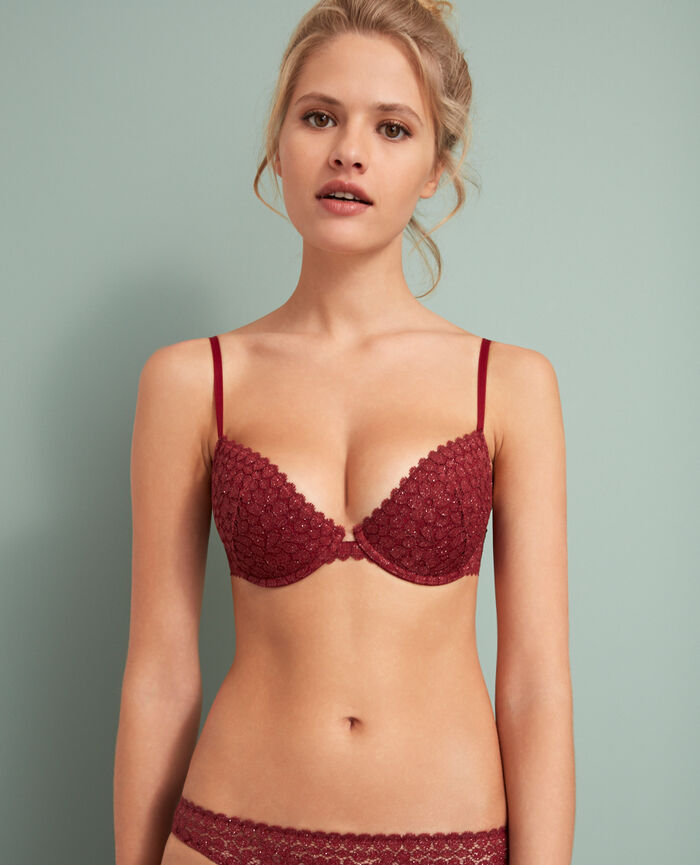 Half-cup padded bra Leather red Movica