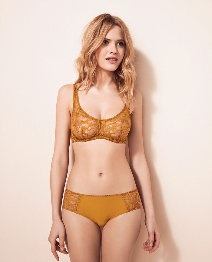 Demi-balconette bra Turmeric brown Monkeys