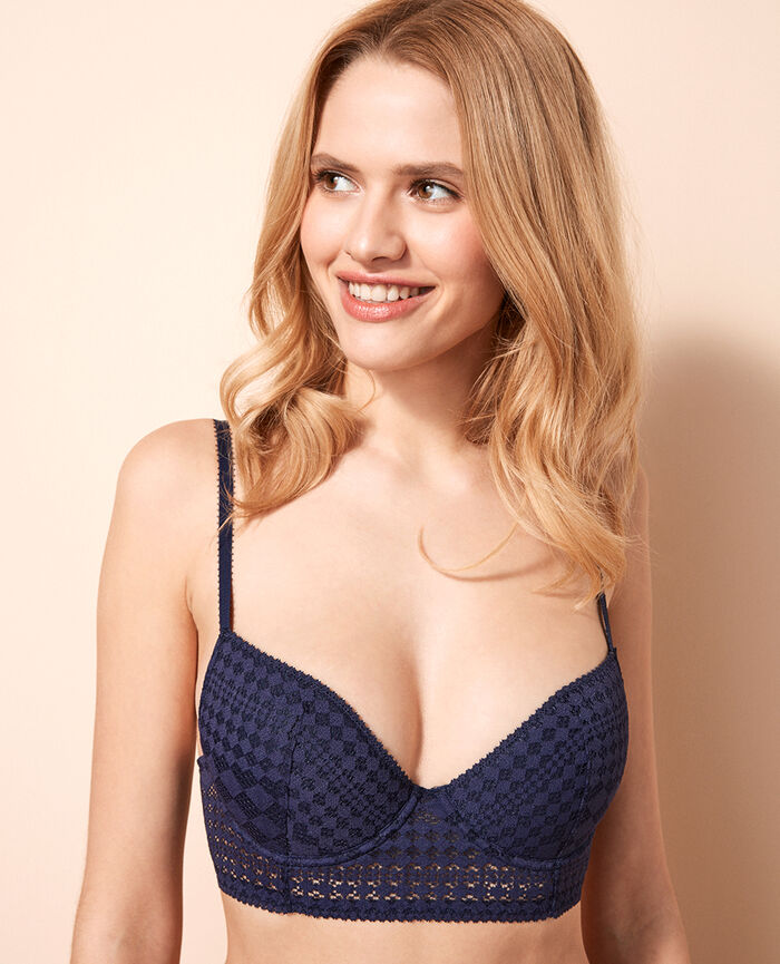 Padded long-line bra Denim blue Saga