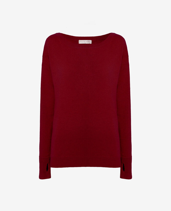 Boatneck jumper Leather red Cozy