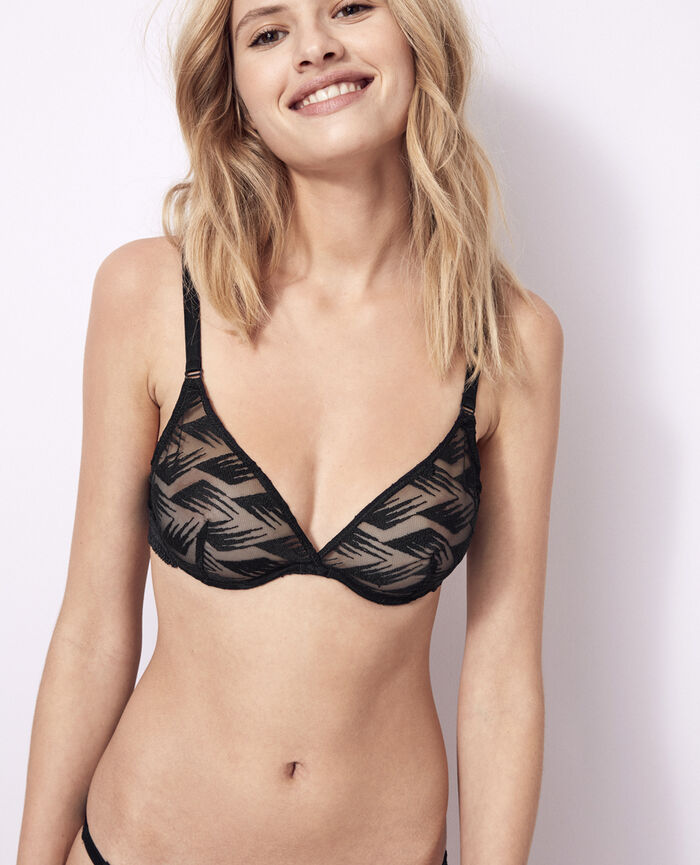 Underwired triangle bra Black Artifice