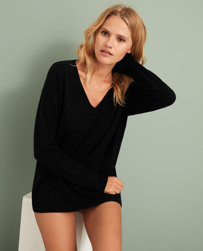 V-neck jumper Black Cozy