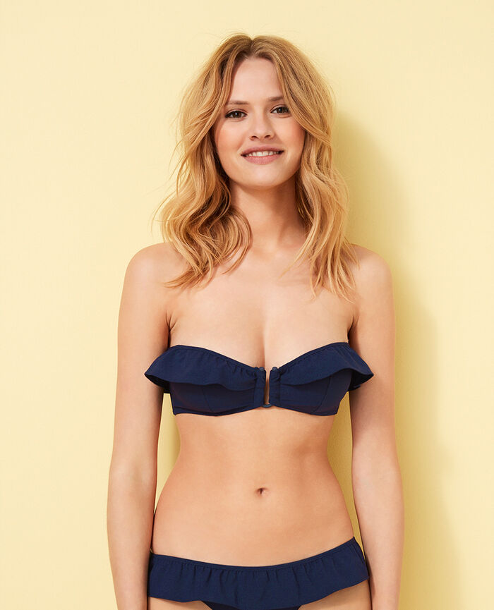 Bandeau-Bikini-Oberteil ohne Bügel Jeansblau SOA