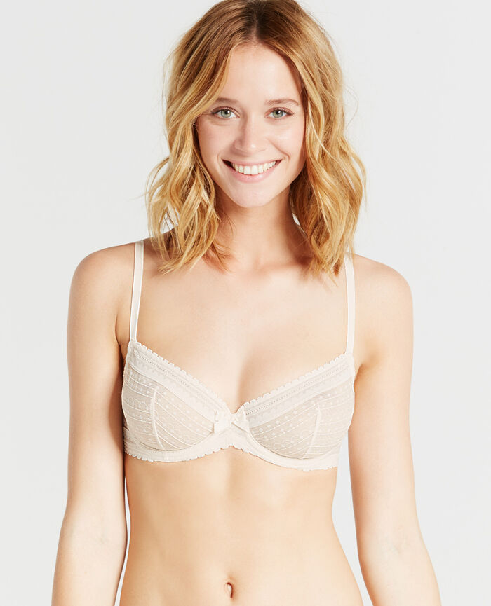 BELLE Rose white Half-cup bra