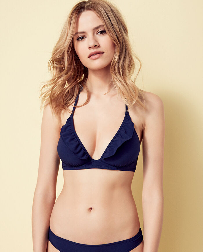Mini-wire triangle bikini top Denim blue Soa