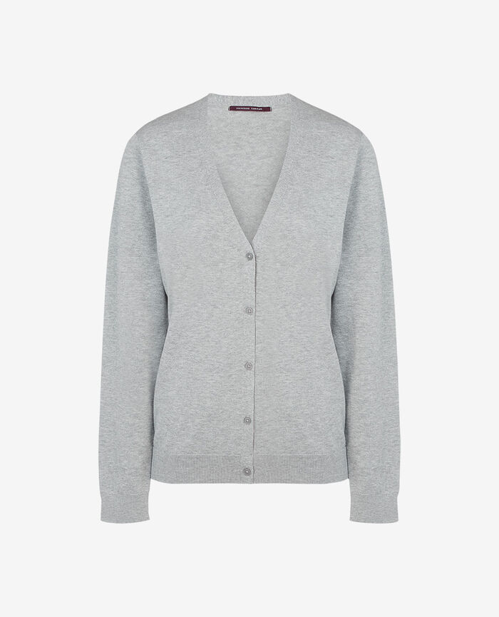 Long-sleeved cardigan Flecked grey Soleil