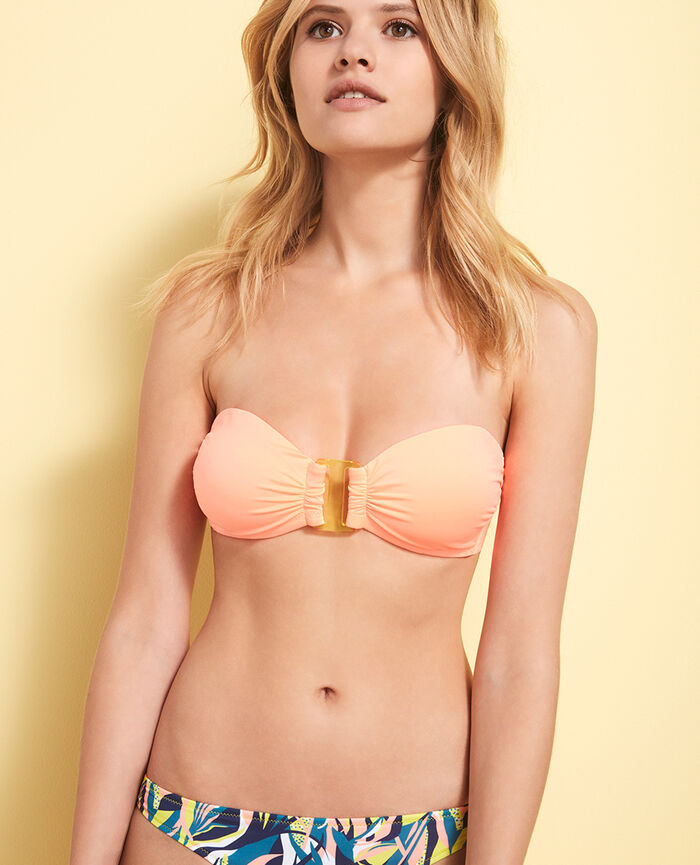 Padded strapless bikini top Cheeky orange Mix & match
