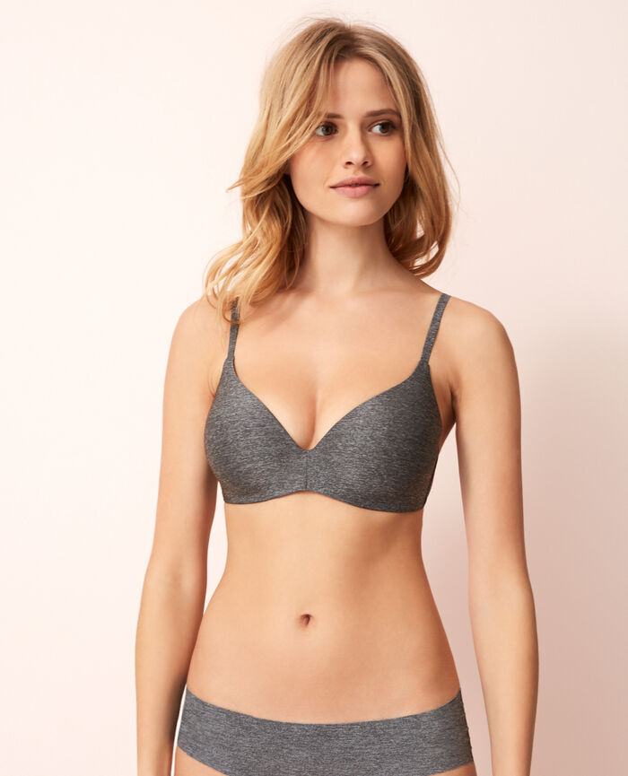 Soft moulded triangle bra Flecked grey Fantomette