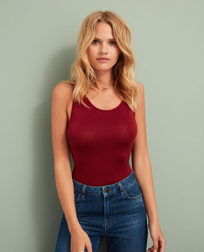 T-shirt sans manches Rouge cuir Innerwear