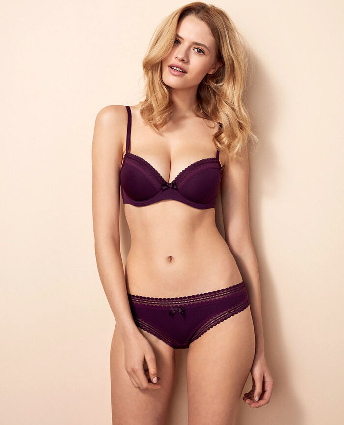 Progressive-cup push-up bra Ethnic purple Beaute