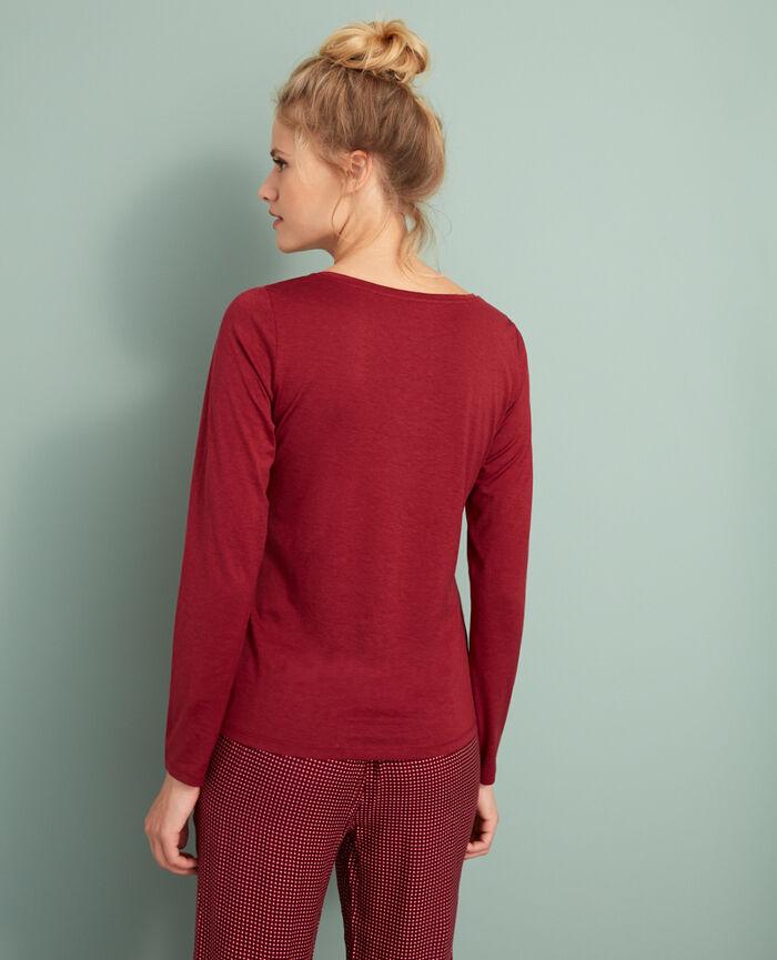 T-shirt manches longues Rouge cuir Latte