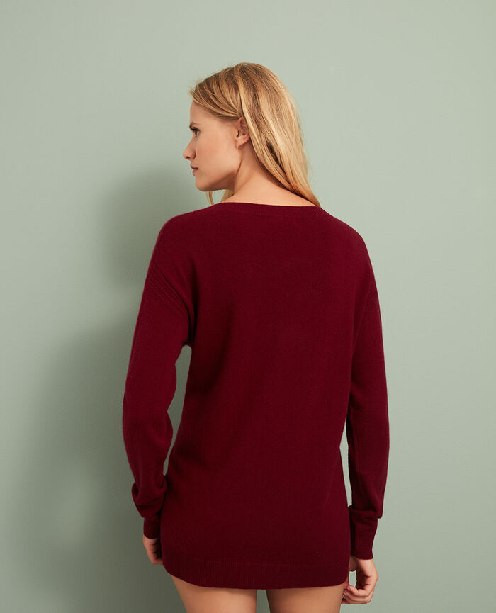 Pullover mit V-Ausschnitt Leder Rot COZY