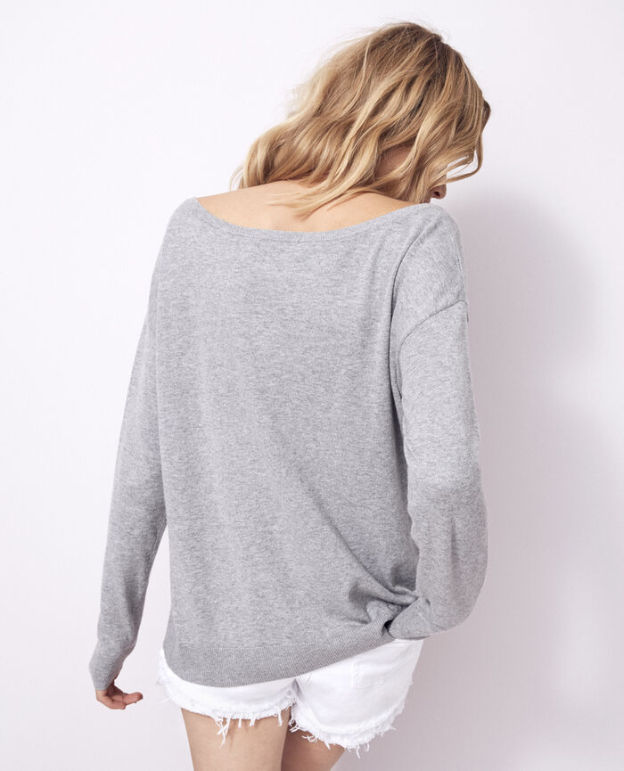 Boatneck jumper Flecked grey Kanou