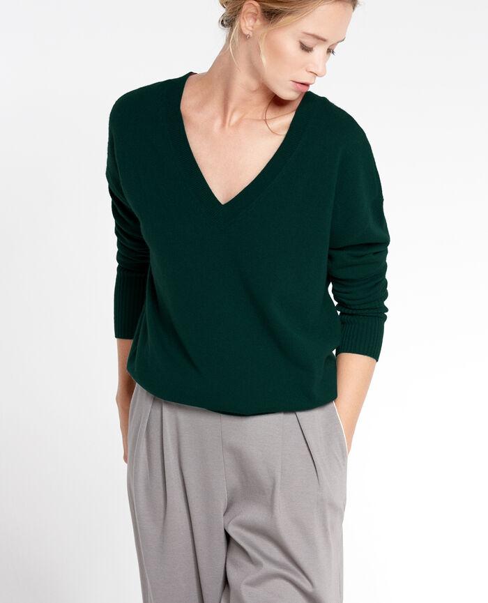 COZY Nachtgrün Pullover mit V-Ausschnitt